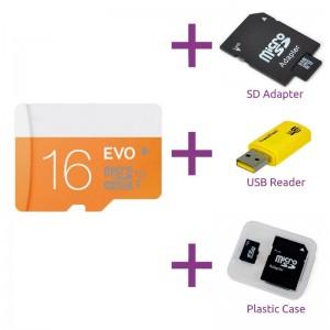 Micro SD kaart 16GB + gratis SD Adapter + USB Adapter 2