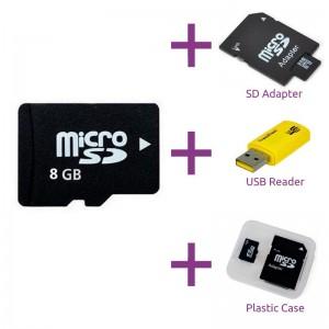 Micro SD kaart 8GB + gratis SD Adapter + USB Adapter 2aaa