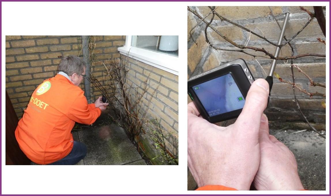 Inspectie met de Waldtech spouwmuurkijker door een klant van ons, Baart-DOET energie- en bouwadvies